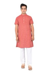 KURTA LONG HALF BASE RED & LINING MUTCOL