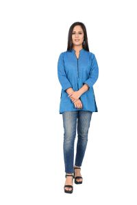 Ladies Short Kurti Curious Blue
