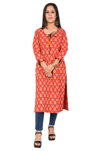 Ladies long Kurti Sunset Orange
